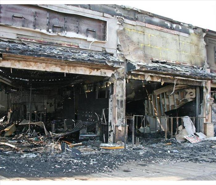 Commercial building damaged by fire